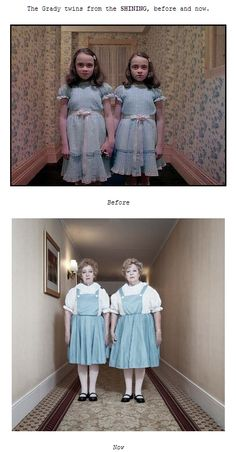 The Grady twins from the SHINING, before and now.  http://www.smagazine.com/blog/2012/10/08/monozygotic/