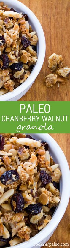 This quick and easy cranberry walnut granola is crunchy and sweet with a hint of tartness from the cranberries - a perfect homemade paleo breakfast or snack. Pin this clean eating granola recipe to try later. Paleo Dessert, Paleo Sweets, Whole Food Recipes, Snack Recipes, Cooking Recipes, Low Carb Breakfast, Breakfast Recipes, Paleo Granola Recipe, Desayuno Paleo