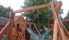 9 DIY Wooden Swing Set Plans for Your Backyard: Freestanding Swing Set Plan from All Thumbs DIY