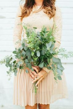 Greenery wedding bouquet idea - overflowing greenery bouquet {Kismet Visuals & Co. Photography & Design}