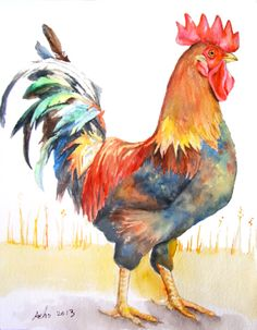 ooak-Original Watercolor Rooster in 8×10