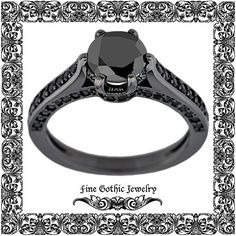 Unique Engagement Ring Steampunk Engagement by FineGothicJewelry Black Diamond, Black Gold, 9 And 10, Steampunk, Etsy, Engagement Rings, Jewelry, Products, Engagement Rings Unique