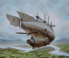 Horse Carriages and Dirigibles – Steampunk Paintings by Vadim Voitekhovitch - Pondly Steampunk Kunst, Steampunk Ship, Mode Steampunk, Steampunk Fashion, Steampunk Armor, Gothic Steampunk, Steampunk Necklace, Steampunk Clothing, Gothic Fashion