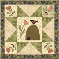 """Jan Patek mini quilt """"Softly Comes the Spring"""" Primitive Quilts, Star Quilts, Mini Quilts, Quilt Blocks, Quilting Projects, Quilting Designs, Farm Animal Quilt, Vogel Quilt, Summer Quilts"""