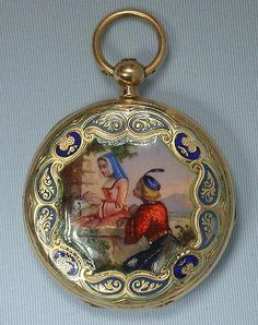 Lovely Swiss gold and painted enamel antique ladies pendant watch by Lepine, Geneva, circa 1860 Old Pocket Watches, Pocket Watch Antique, Antique Watches, Vintage Watches, Antique Jewelry, Vintage Jewelry, Skeleton Watches, Clock Art, Beautiful Watches