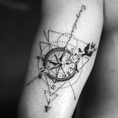 40 Geometric Compass Tattoo Designs for Men - Cool Geometry Ideas . - Geometric Compass Tattoo Designs for Men - Cool Geometry Ideas . Trendy Tattoos, Sexy Tattoos, Body Art Tattoos, Tattoos For Women, Tattoos For Guys, Tatoos, Tricep Tattoos, Tatto For Men, Garter Tattoos