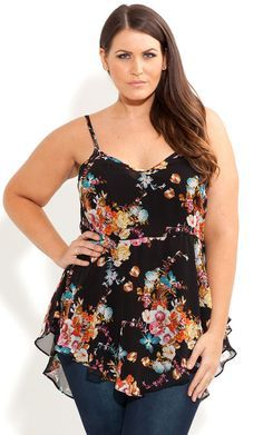 City Chic- STRAPPY POSIE TOP - Women's plus size fashion
