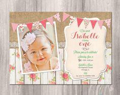Girl 1st birthday invitation shabby chic 1st birthday invitation shabby chic birthday invitation first birthday filmwisefo Images