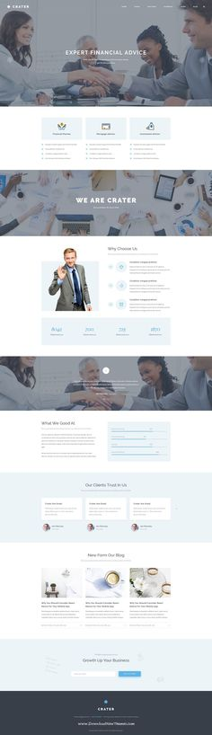 Crater is Finance and Business PSD Template. Comes in 6 Stunning homepage version, 5 style header and 31 PSD Files with Creative icon. #account #website