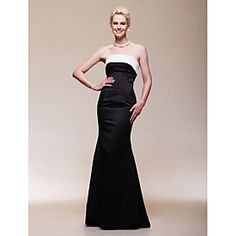 Satin Trumpet/ Mermaid Strapless Floor-length Evening Dress inspired by Reese Witherspoon