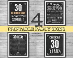 30th #Birthday Printable Party Decor 4 Unique 8x10 Signs by #NviteCP
