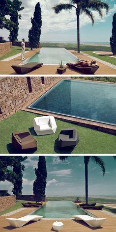 Jouez avec les lignes géométriques de votre piscine et destructurez-les avec l'équipement de jardin Faz de Vondom: Fauteuils, Transat, Table Basse, etc.Tout pour aménager votre terrasse! #barazzi #piscine #transat #inspiration #chaiselongue