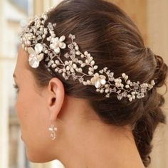 Hermione Harbutt May Blossom Headdress Designer Vine Pearl and Swarovski Side Tiara Headdress