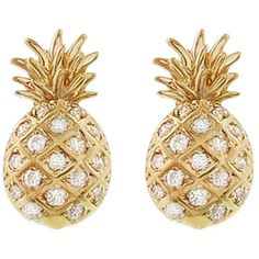 Sydney Evan Pineapple Stud Earring ($440) ❤ liked on Polyvore featuring jewelry, earrings, gold, earring jewelry, handcrafted jewelry, polish jewelry, hand crafted jewelry and stud earrings
