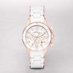 Sale 	 	Rock Chrono Silicone Wrapped Watch This watch is perfect for everyday with a  rose gold-plated stainless steel and white silicone mixed strap, a tri-fold buckle with spring-lock closure, and a white tonal dial.
