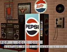 Pop A Cold One - Vintage Pepsi Machine - Two Fingers Whiskey — LiveJournal Sims 4 Game, Sims Mods, Vending Machine, Sims 4 Custom Content, Sims Cc, Pepsi, Old Things, Cold, 1990s