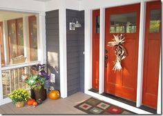 Front Door color!?!?  Not sure if I will love this year round...?  Our house is the same blue gray color w/ white trim, I just can't decide what color to paint the door...any ideas or suggestions would be welcomed!