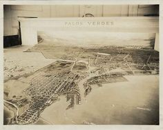 An early 1920's diorama of the Palos Verdes Peninsula, showing the San Pedro side of the peninsula with the Wilmington and Los Angeles Harbor.