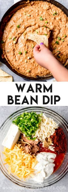 Who doesnt love a good dip? This Refried Bean Dip recipe comes together in just minutes and everybody always swarms whe Mexican Appetizers, Dip Appetizers, Appetizer Recipes, Vegetarian Appetizers, Healthy Dinner Recipes, Mexican Food Recipes, Cooking Recipes, Cooking Tips, Refried Bean Dip
