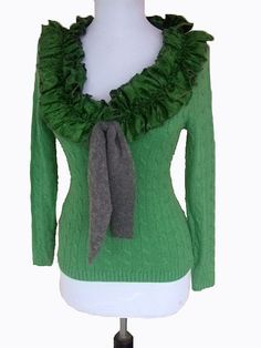 Recycled sweater with ruffle