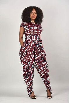 ♡African Fashion ღ ♡ ♡ ღ Emem Harem Jumpsuit African print clothing by RAHYMA on Etsy African Dresses For Women, African Attire, African Wear, African Fashion Dresses, African Women, Ghanaian Fashion, African Style, Nigerian Fashion, Ankara Fashion