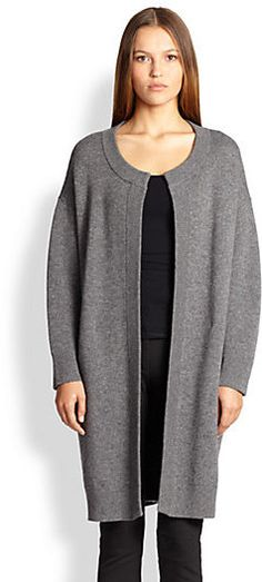 "Burberry London Wool & Cashmere Pleated-Back Cardigan, A modern cocoon shape lends elegance to this long cardigan, with a deeply pleated back as a modern finishing touch.;Round neckline;Long sleeves;Back pleat detail;About 35"" from shoulder to hem;Wool/cashmere;Dry clean;Imported;Model shown is 5'10"" (177cm) wearing US size Small."