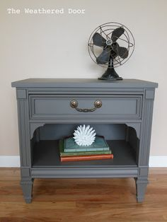 The Weathered Door: Grey-Brown Nightstand
