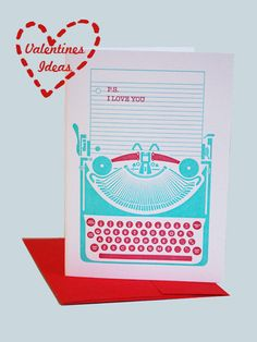 #papermash #card #valentinesday #typewriter #letterpress from http://www.papermash.co.uk/ (No longer available).