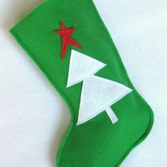 Christmas Stocking  Tree in Green Eco Friendly by stitcholicious, $17.00