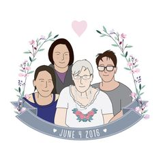 Items similar to Personalised Family Illustration - Custom digital family illustration, personalised portrait family, gift for mom on Etsy Family Illustration, Heart Illustration, Portrait Illustration, Digital Illustration, Christmas Animals, Pet Portraits, Photo Cards, Gifts For Mom, Whimsical