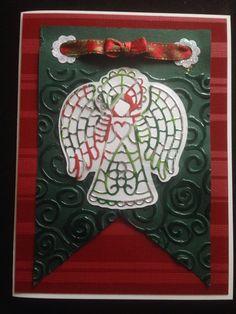 Christmas card using Cheery Lynn angel die.