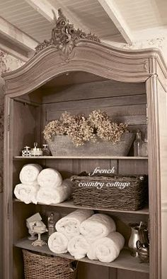 another use for tv armoire -- frenchcountrycottage.net