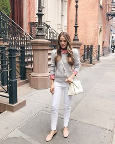 Julia Engel shares her daily look on Gal Meets Glam. Julia is wearing a Rebecca Taylor top and sweater, Current Elliott jeans, and more. Click top shop!