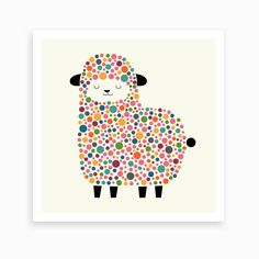 Bubble Sheep Art Print by Andy Westface - Fy Wall Art Prints, Fine Art Prints, Kids Prints, Fun Prints, Sheep Art, Dot Painting, Cute Illustration, Art Lessons, Art For Kids