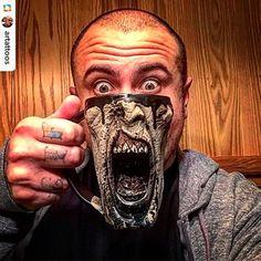 REPOST from @artattoos: Mean (coffee) muggin... ------------------------------- @artattoos rockin his black splatter Screamer 😳☕️️👍🏻 ------------------------------- #bestfansever #vampire #ceramics #walker #pottery #creepy #coffeeaddict #horrorlover #horrorjunkie #skull #nightmare #horrorfan #twd #stoneware #horror #coffee #horroraddict #undead #thewalkingdead #zombiemug #coffeemug #mug #coffeelover #coffeebreak #zombie #zombies #mugaddict #mugcollection #muglife