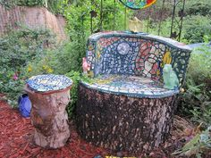Mosiac-chair-made-from-tree-stump