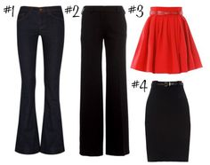Perfect pear shaped bottoms - add a top with an open neckline, details like ruffles or sequins, etc.