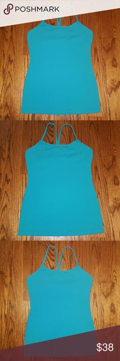 "Lululemon Tank Lululemon Power ""Y"" Racer back Tank Top. Turquoise in color. Size 4! Worn 1x and in LIKE NEW condition! MSRP $52.00. lululemon athletica Tops Tank Tops"
