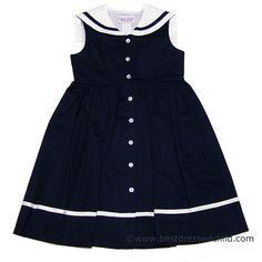 Bonnie jean baby girls sailor nautical spring summer dress navy 2t
