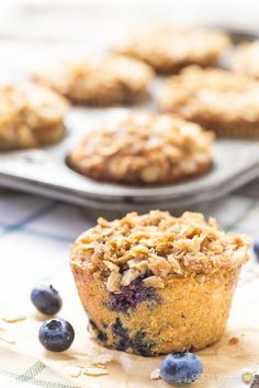 Blueberry/oatmeal muffins are perfect for breakfast and are sure to be a hit with everyone!  Wonderful streusel topping too!