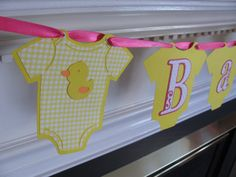 Baby Onesie Duck Baby Shower Banner by ElegantPartyPlans on Etsy, $17.99