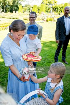 Prince Daniel of Sweden, Crown Princess Victoria of Sweden, Princess Estelle and Prince Oscar of Sweden is seen meeting the people gathered in front of Solliden Palace to celebrate the 40th birthday of Crown Princess Victoria of Sweden on July 15, 2017 in Borgholm, Sweden.