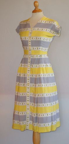Early 1950s striped St. Michael day dress