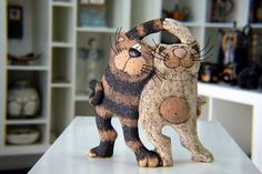 Handmade Pottery, Funny Cats, Cat Sculpture, Art Cats, Ceramic Cat, Animal Sculpture, Cat totem, Home decor, Art Decor, Cat Figurine