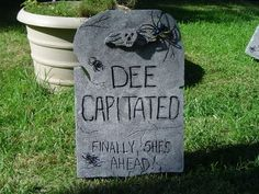 Making fake tombstones for the front yard - OCCASIONS AND HOLIDAYS