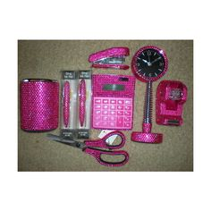 Hot Pink Wow Dazzling Rhinestone Office Supplies Lot Found On Polyvore