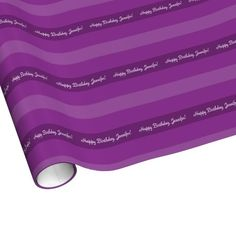 """Purple Striped Wrapping Paper - This colorful wrapping paper, striped with different shades of purple, is a fun way to wrap gifts. Nice, modern gift wrap for people who love purple. Default text says """"Happy Birthday, Jennifer"""" - you can easily personalize it or delete example text. All Rights Reserved © 2014 Alan & Marcia Socolik"""