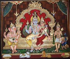 More Tanjore Paintings - Golden Streak Adorn Your Life with ART Mysore Painting, Tanjore Painting, Shiva Art, Krishna Art, Shiva Shakti, Lord Shiva Painting, Ganesha Painting, Family Sketch, Lord Shiva Family