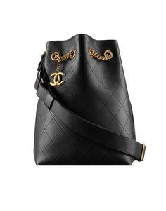 Bolsa drawstring, couro de novilho & metal dourado claro-preto - CHANEL