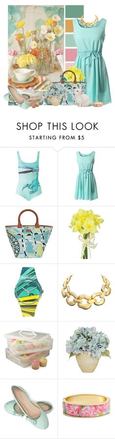 """print bag"" by tinkertot ❤ liked on Polyvore featuring GUESS, Gyunel, Emilio Pucci, Pavilion Broadway, Swatch, Givenchy, Snapware and Lilly Pulitzer"